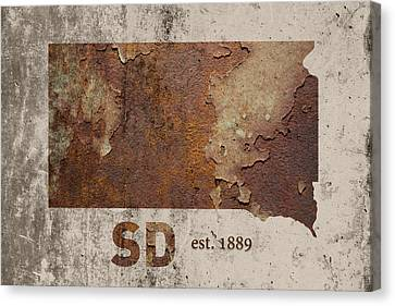 South Dakota State Map Industrial Rusted Metal On Cement Wall With Founding Date Series 036 Canvas Print