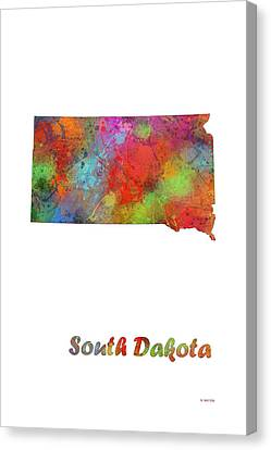 South Dakota State Map Canvas Print