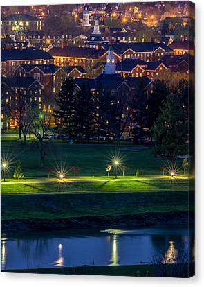 Ohio University South Green At Dusk Canvas Print by Robert Powell