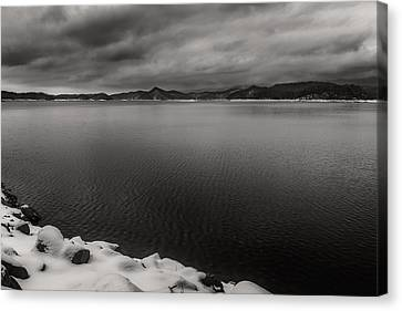 South Holston Snow Bandw Canvas Print