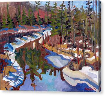 Snow Melt Canvas Print - South Magnetawan Midday by Phil Chadwick