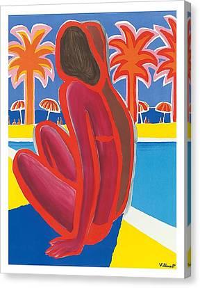 South Of France French Riviera Vintage Travel Poster By Bernard Villemot Canvas Print