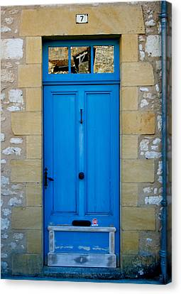 South Of France Rustic Blue Door  Canvas Print by Georgia Fowler