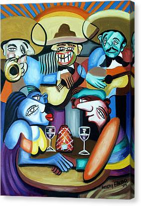Woman Drinking Canvas Print - South Of The Boarder by Anthony Falbo