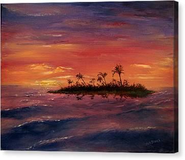 Canvas Print featuring the painting South Pacific Atoll by Jack Skinner