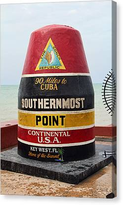 South Point U. S. A. - 90 Miles To Cuba Canvas Print by Daniel Hagerman