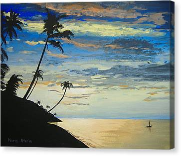 Canvas Print featuring the painting South Sea Sunset by Norm Starks
