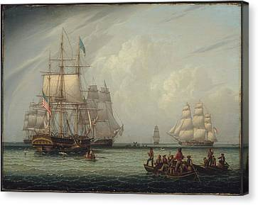 South Sea Whale Fishing Canvas Print by MotionAge Designs