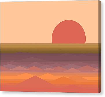 Canvas Print featuring the digital art South Seas Abstract Sunrise by Val Arie