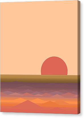 Canvas Print featuring the digital art South Seas Abstract Sunrise - Vertical by Val Arie
