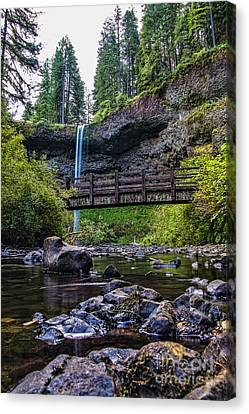 South Silver Falls With Bridge Canvas Print