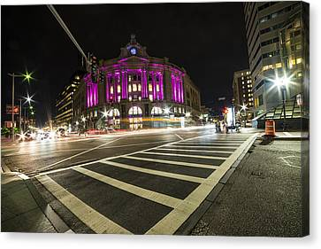 Crosswalk Canvas Print - South Station Boston Ma Movement In The Night by Toby McGuire
