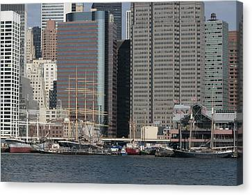 South Street Seaport Canvas Print - South Street Seaport From Brooklyn by Christopher Kirby