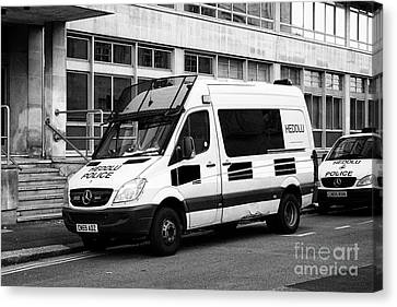 south wales police heddlu bilingual mercedes sprinter riot control support vehicle livery Cardiff Wa Canvas Print by Joe Fox