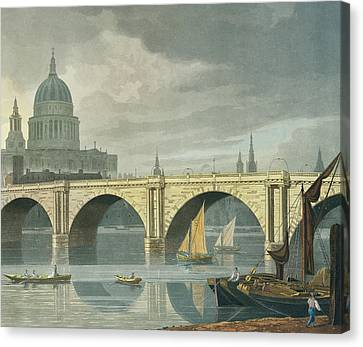 South West View Of St Pauls Cathedral And Blackfriars Bridge Canvas Print by George Fennel Robson