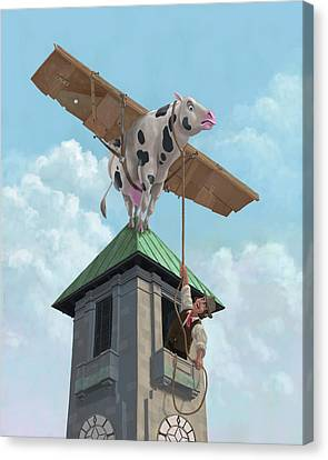 Cardboard Canvas Print - Southampton Cow Flight by Martin Davey