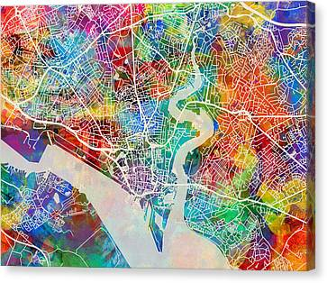 Hampshire Canvas Print - Southampton England City Map by Michael Tompsett