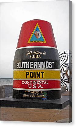Southermost Point Of U.s.a. Buoy Marker Canvas Print by John Stephens