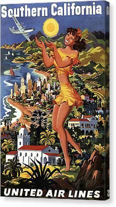 Southern California Vintage Travel 1950's Canvas Print by Daniel Hagerman
