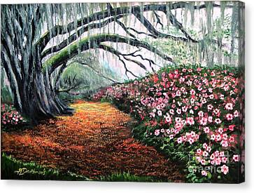 Canvas Print featuring the painting Southern Charm Oak And Azalea by Patricia L Davidson
