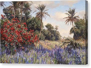 Southern Landscape With Lavender Canvas Print