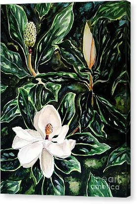 Canvas Print featuring the painting Southern Magnolia Bud And Bloom by Patricia L Davidson