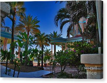 Southernmost Lush Garden In Key West Canvas Print by Susanne Van Hulst
