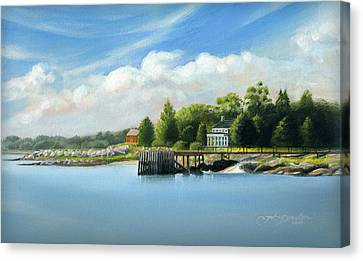 Southport Harbor Canvas Print by John Deecken