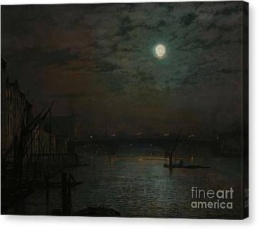 Southwark Bridge By Moonlight Canvas Print by John Atkinson Grimshaw