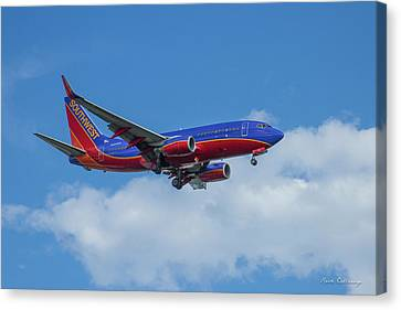 Southwest Airlines Jet N223nw Color Perfect 2 Atlanta Georgia Canvas Print by Reid Callaway