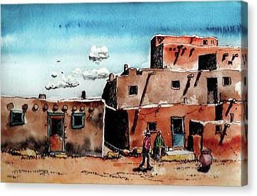 Canvas Print featuring the painting Southwest Homes by Terry Banderas