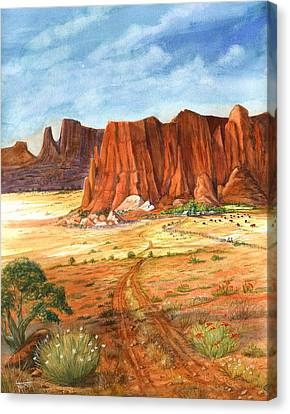 Canvas Print featuring the painting Southwest Red Rock Ranch by Marilyn Smith