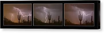 Southwest Saguaro Cactus Desert Storm Panorama Canvas Print by James BO Insogna