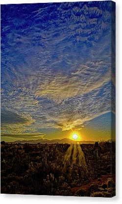 Canvas Print featuring the digital art Southwest Sunset Op40 by Mark Myhaver