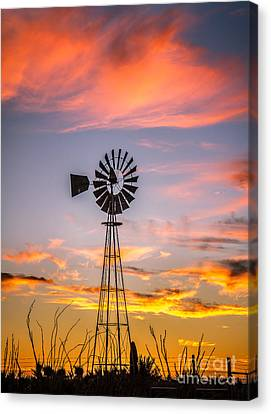 Haybales Canvas Print - Southwest Windmill by Robert Bales
