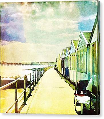Canvas Print featuring the photograph Southwold Beach Huts by Anne Kotan