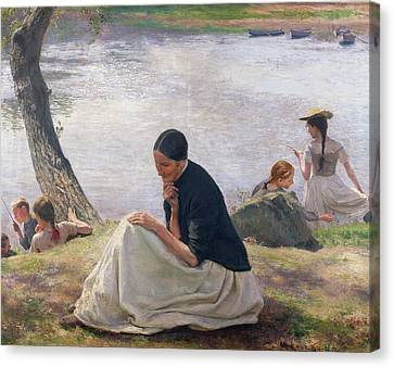Chin On Hand Canvas Print - Souvenir by Emile Friant