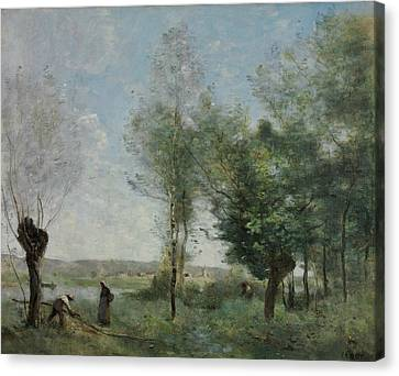 Souvenir Of Coubron Canvas Print by Jean-Baptiste-Camille Corot