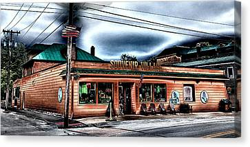Souvenir Village In Downtown Old Forge Canvas Print by David Patterson