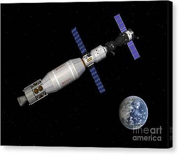 Soyuz Deep Space Explorer Docked Begins Canvas Print