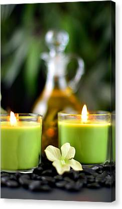 Spa Rocks And Candles Canvas Print