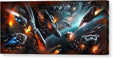 Space Battle Canvas Print by Odysseas Stamoglou