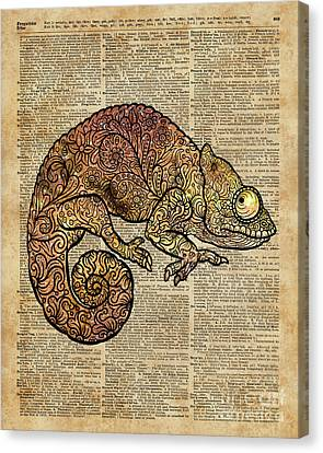 Space Chameleon Zentagle Dictionary Art Canvas Print