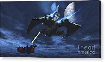 Space Fight Canvas Print by Corey Ford