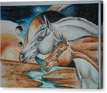 Space Horses  Canvas Print by Andrea  Darlington