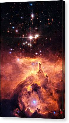 Space Image Orange And Red Star Cluster With Blue Stars Canvas Print by Matthias Hauser