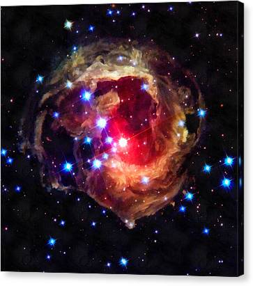 Space Image Red Star In The Universe Canvas Print by Matthias Hauser