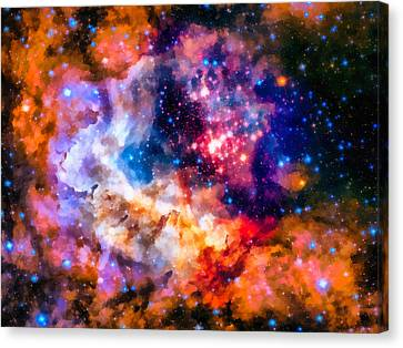 Space Image Star Cluster And Nebula Canvas Print by Matthias Hauser