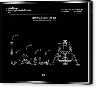 Space Lander Patent - Black Canvas Print by Finlay McNevin