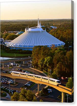 Monorail Canvas Print - Space Mountain And Monorail Peach by David Lee Thompson